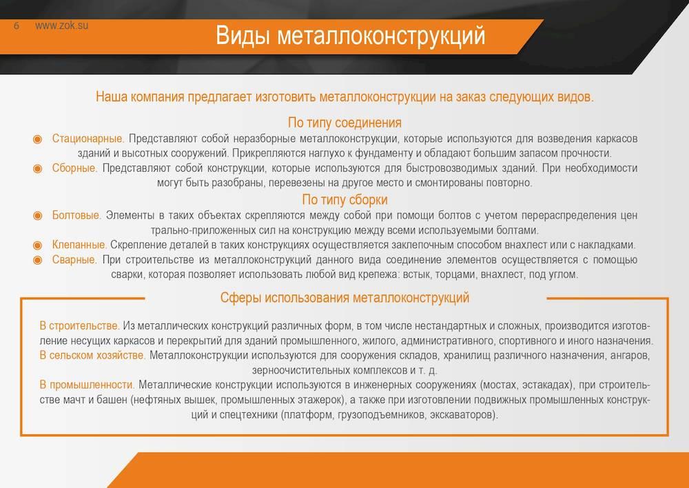 Виды металлоконструкций от ООО ЗОК